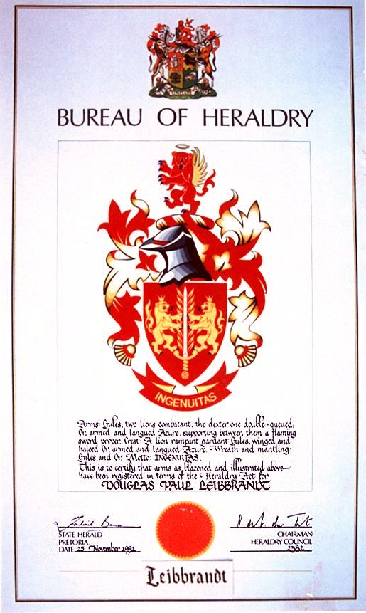 The South African Leibbrandt coat of arms by D.P. Leibbrandt