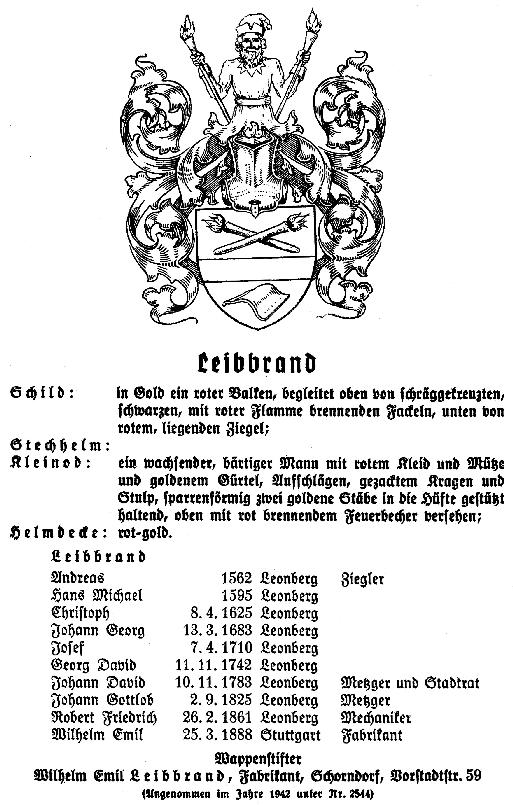 Registration of Leibbrand coat of amrs from Württemberg